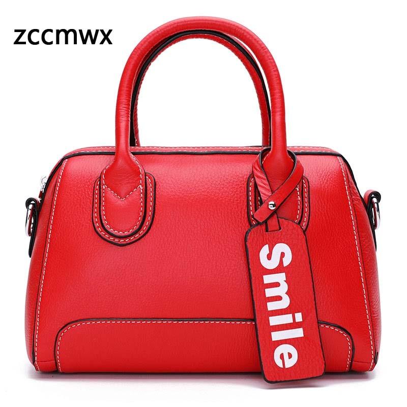 Zccmwx brand high quality leather bag female 2018 new designer luxury ladies handbag zipper ladies shoulder bag Messenger bag