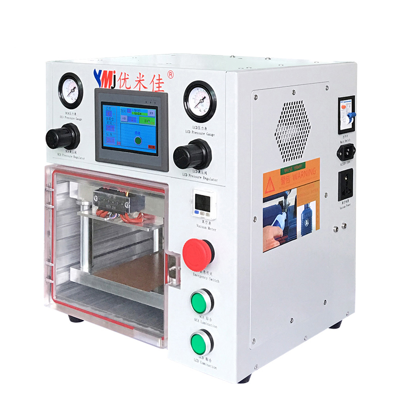 YMJ Vacuum OCA Laminating Machine  Double Pressure Regulating Valve Portable Laminator For Samsung IPhone Screen Repair
