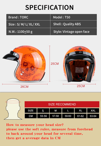 Image 5 - TORC T50 jet helmet motorcycle open face helmet  retro personalized motorbike vintage helmet capacete moto helmet DOT