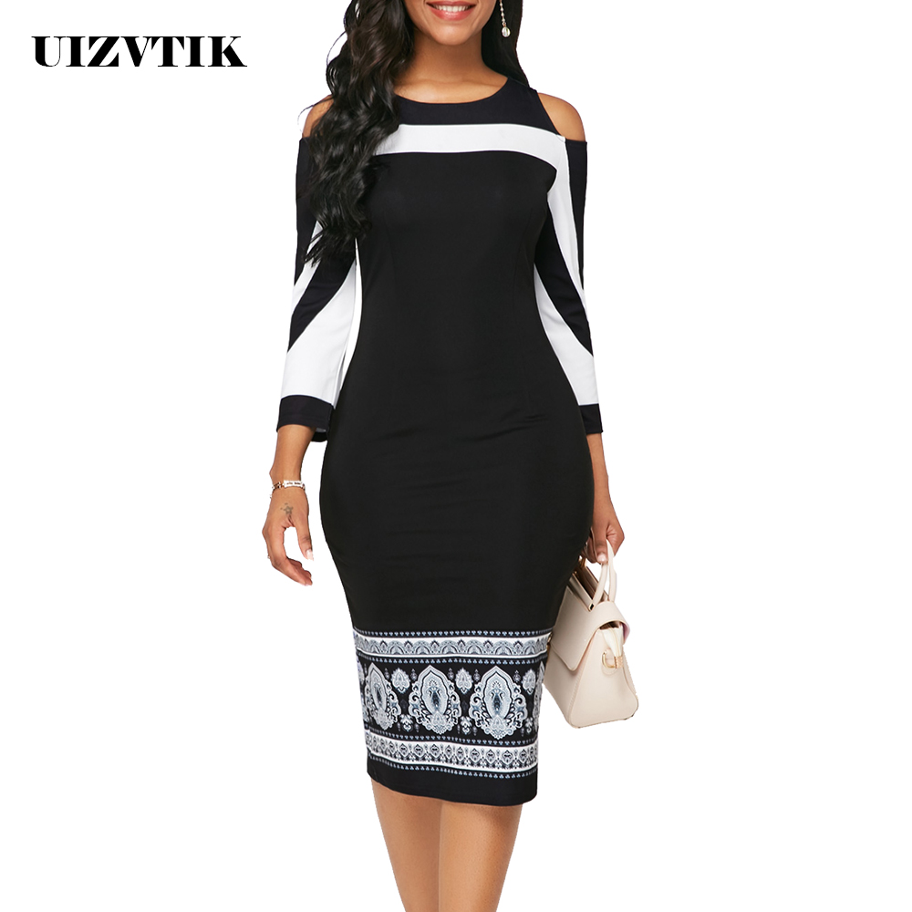 Summer Autumn <font><b>Dress</b></font> Women 2019 Casual Plus Size Slim Office Pencil Bodycon <font><b>Dresses</b></font> Elegant <font><b>Vintage</b></font> <font><b>Sexy</b></font> Off Shoulder Party <font><b>Dress</b></font> image