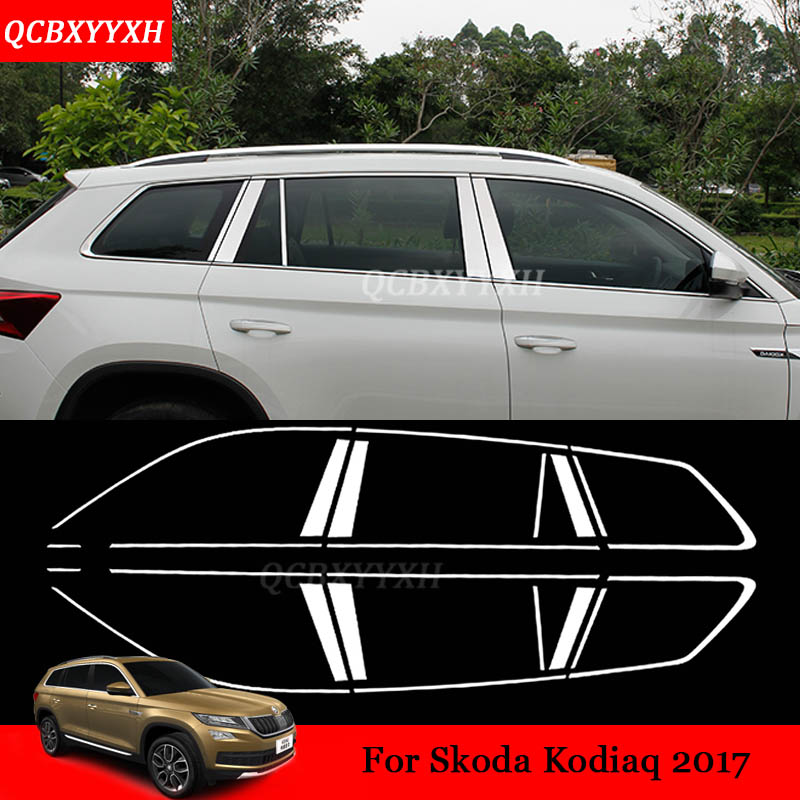 Stainless Steel Full Window Trim Decoration Strips Car Styling For Skoda Kodiaq 2016-2017 chrome stickers trim auto Accessories stainless steel full window trim decoration strips for ford focus 3 sedan 2012 2013 2014 car styling car covers 20