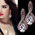 Blue Earrings Women Luxury Clear Crystal Earrings for Wedding Trendy Party Female Bar Earrings Friendship Gift AAA cz Jewelry