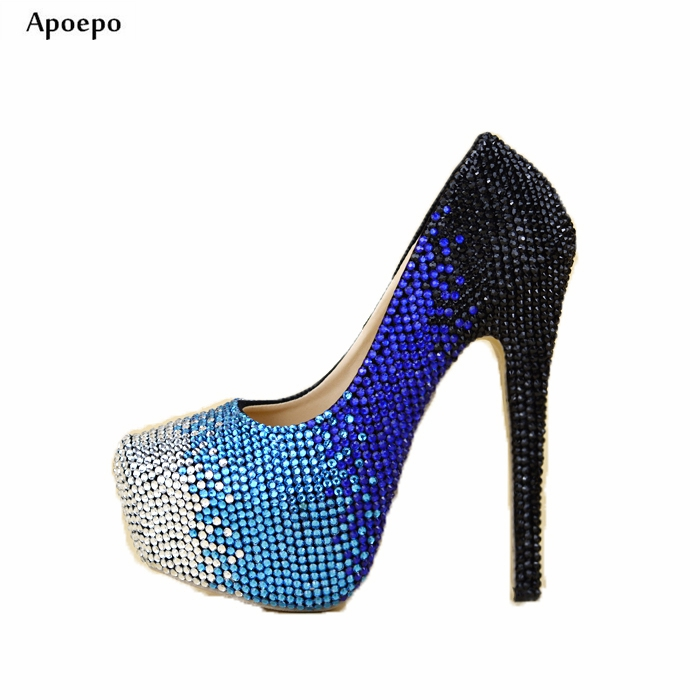 Apoepo High Heel Shoes 2018 Woman Sexy platform pumps Black white blue crystal embellished dress shoes the Bride wedding heels baoyafang luxury blue crystal womens wedding shoes bride high heels platform shoes woman party dress shoes female high pumps
