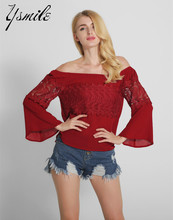YSMILE Hot Sale Summer Spring Off Shoulder Tops Shirts Long Sleeve Solid Lace Patchwork Blouses Women Clothing Fashion Blusas