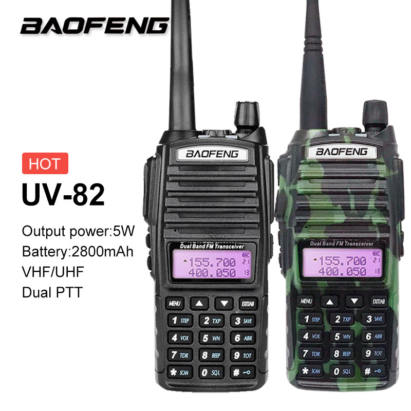Baofeng UV-82 Walkie Talkie 10KM Dual Band VHF UHF Two Way Ham CB Radio Station Amateur PTT HF Radio Transceiver SDR Scrambler