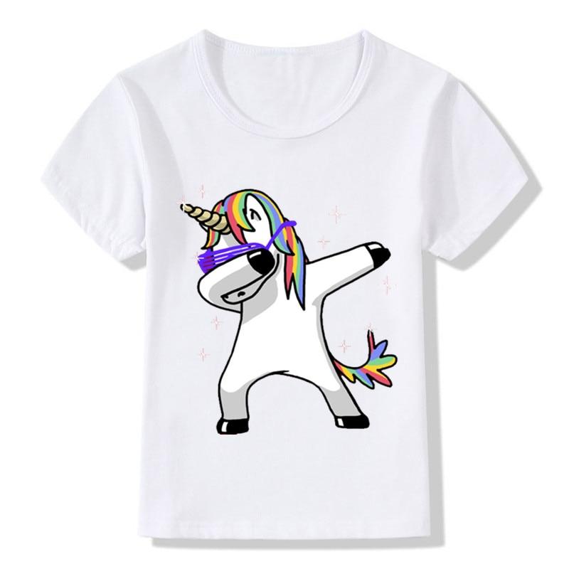 Kinder Abtupfen Einhorn Cartoon T-Shirts Jungen/Mädchen Lustige Tops t-shirt Kinder Kühlen Kaninchen/Katze/Mops Baby Casual Kleidung, HKP2081