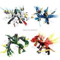 Hot Sembo Block Compatible Lepin Mini Ninja Figures Building Blocks With Soul Fire Dragon Battle Jay