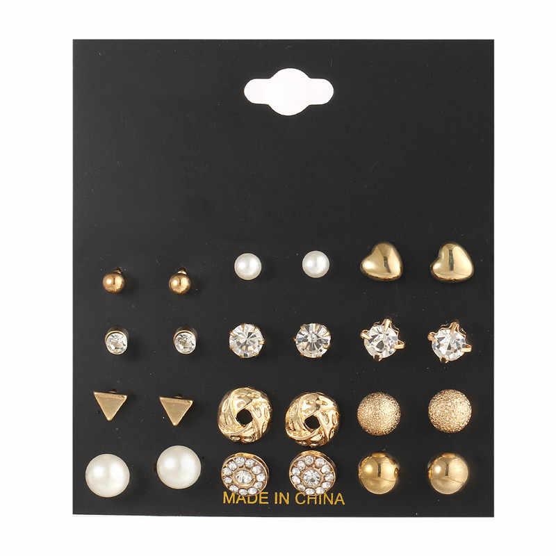 24 pçs/set Flores Do Coração Do Vintage Brincos Do Parafuso Prisioneiro de Ouro Set 2019 Nova imitação de Pérolas Brincos de Cristal para Mulheres Presente na Orelha jóias