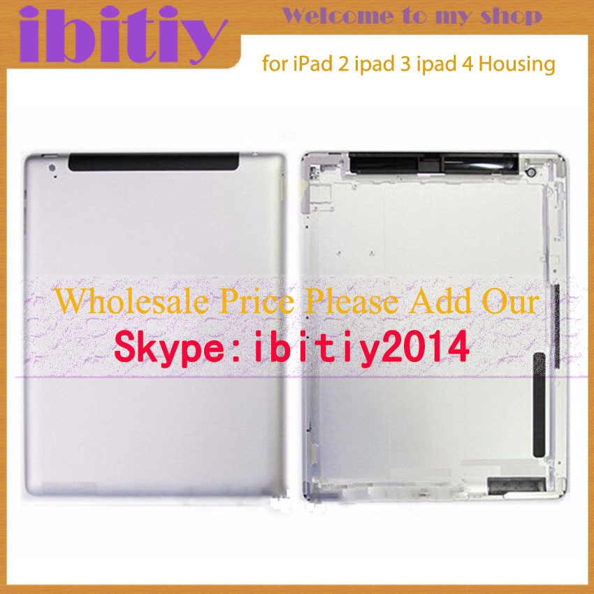 10Pcs/Lot New&Original For iPad 2 ipad 3 ipad 4 Back housing Wifi or 3G Version Back Cover Rear Case 64GB 32GB 16GB Free+Logo