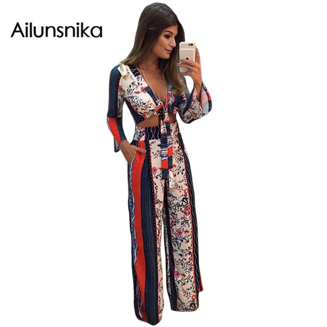 Ailunsnika New Spring 2017 Printed Bell Sleeve Crop Top Wide Leg Pant Set Sexy Women Style Party Clubwear Femininos DL62031