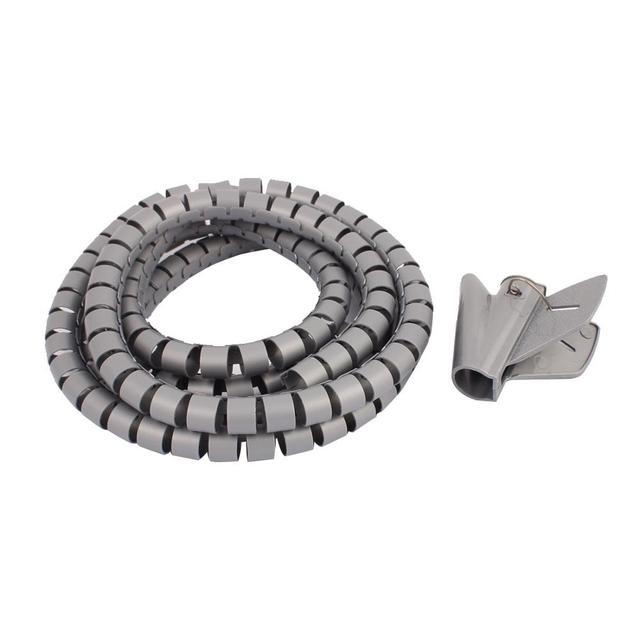 2M Length Black Grey 15mm Spiral Wire Organizer Wrap Tube Flexible ...