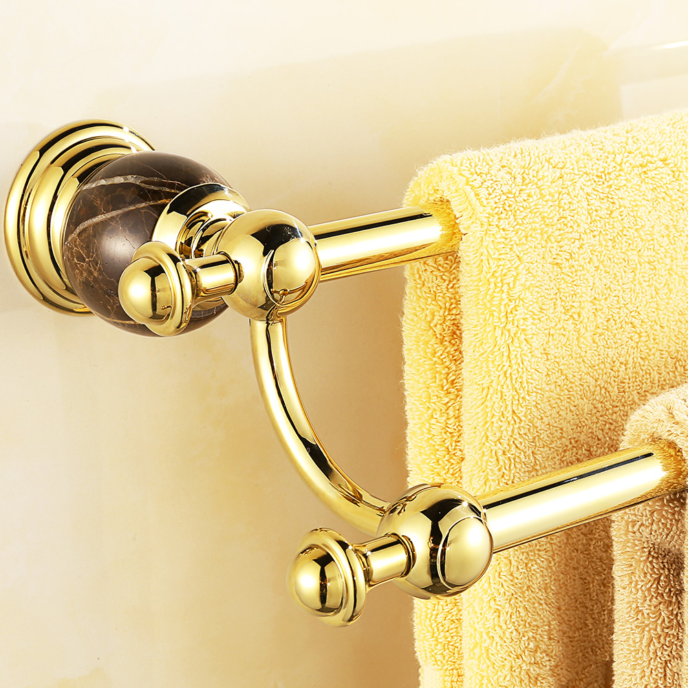 Luxury European Gold Marble Towel Holder Antique Polished Copper Wall Mounted Double Towel Bar Towe Rack Bathroom Accessories D8 european copper gold towel rack toilet towel bar bathroom antique rotary towel bar antique activities towel 3 bar f91381