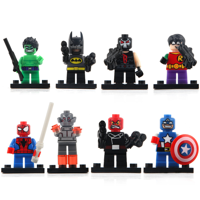 8Pcs/lot Marvel Super Heroes Figures The Avengers Building Blocks Sets Minifigures Model Bricks Figures Toys for Children