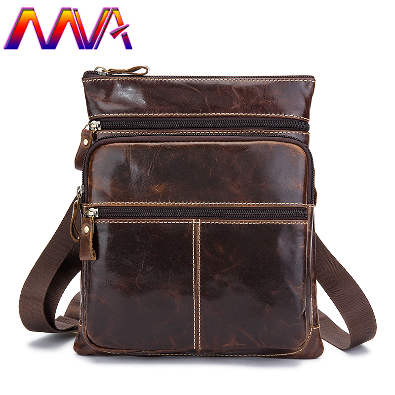 MVA Small leather men shoulder bag for fashion business men messenger bags with 100% genuine leather mens shoulder bags