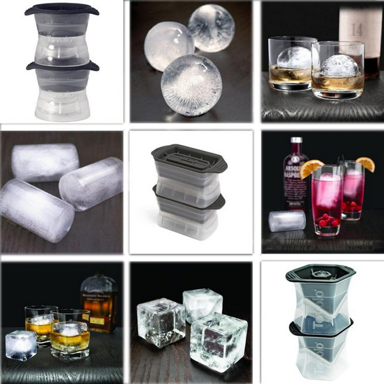 DIY Creative Big Ice Cube Mold Silicone Ice Tray Ice Cube Maker Bar Kitchen Accessories Spherical Square Cylindrical