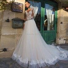 קו ארוך שרוולי חתונת שמלות טול תחרת אפליקציות Vestido דה Noiva כפתור אשליה כלה שמלות משפט רכבת Custom