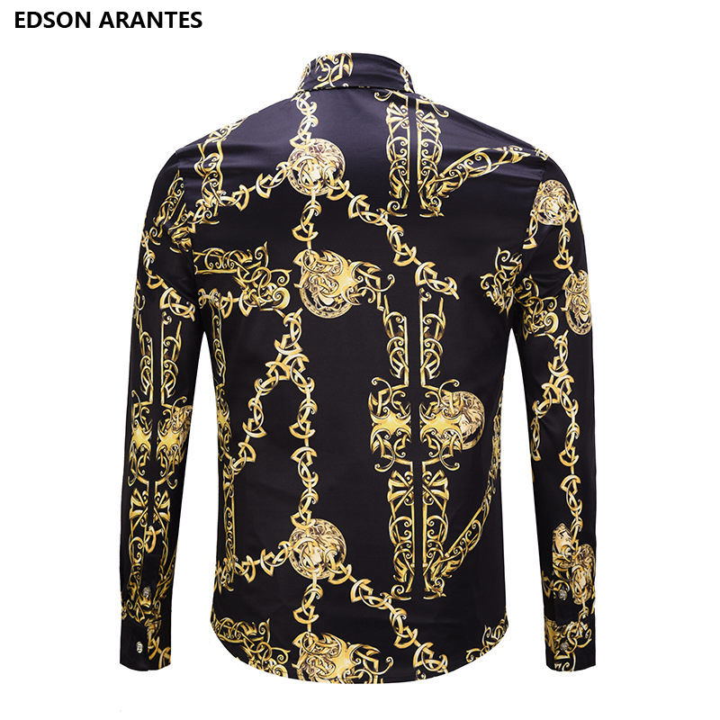 Retro Goth Men/'s Dress Shirt Gold Floral Casual Long Sleeve T-Shirt Dark Blue