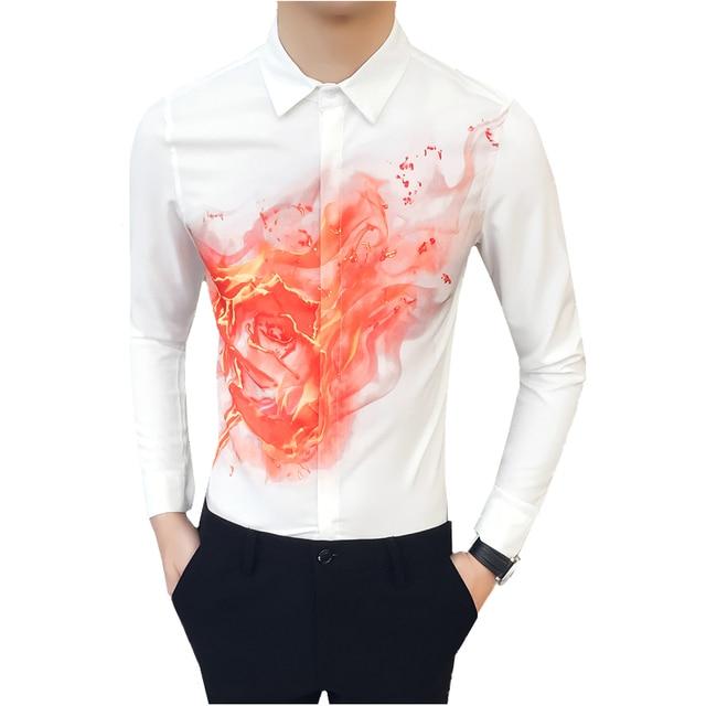 60c236b5a871 2018 Men's Long Sleeve Shirts Szie S M XL 2XL 3XL Black White Fashion Night  Club Man Casual Flower Shirt Slim Elegant