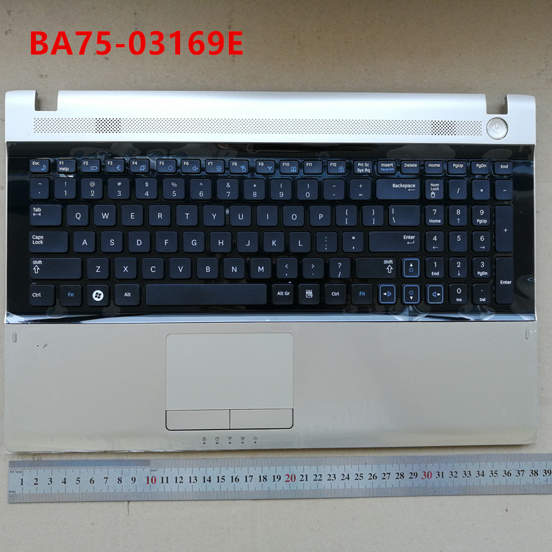 US new laptop keyboard with touchpad palmrest for Samsung RV509 RV511 RV515 RV520 E3511 gold BA75-03169E 100 pcs free shipping new dc jack for samsung rv500 rv511 rv509 rv515 rv520 rv720 rv530 rv515 rv420 dc power jack port socket