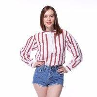 Dioufond 2017 Autumn Striped Women Blouse Long Sleeve Femme Vintage Tops Ladies Cotton Blouse Women Fashion