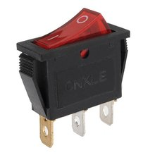 10Pcs/Lot 3Pin 15A 250V Dashboard ON-OFF Rectangle Rocker Dash Toggle Switch I-0 Sign Red