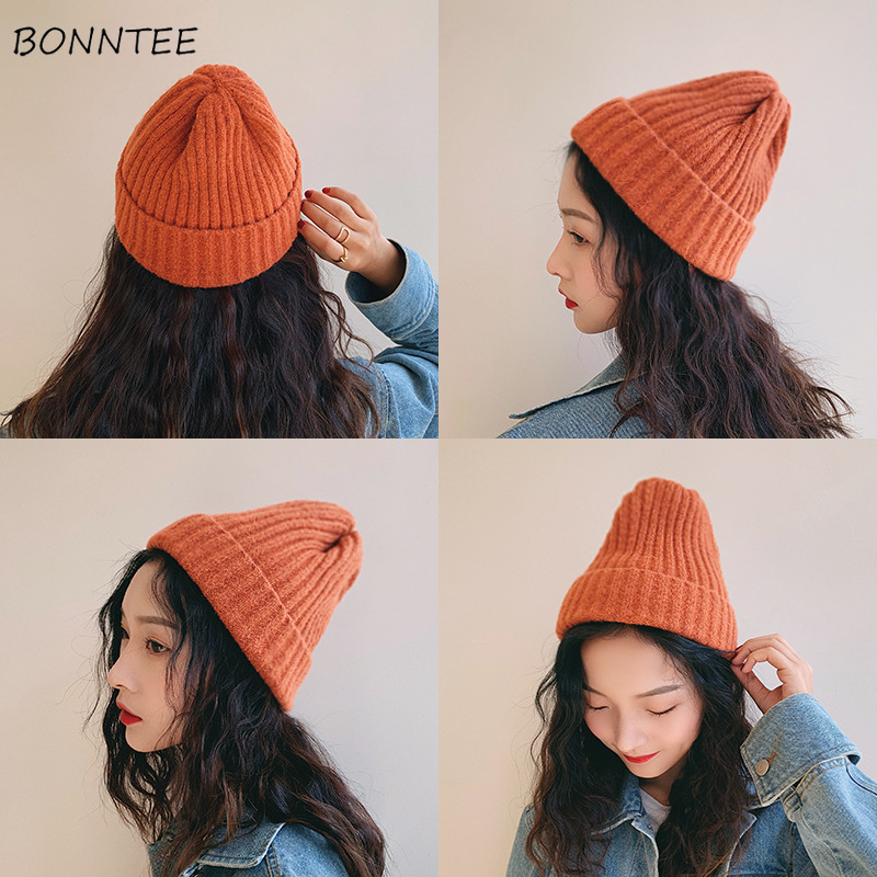 Beanies   Women Solid Knitted Casual Warm   Skullies   Korean Style Elegant Student Hats Chic Womens Lovely Caps Autumn Winter Fashion