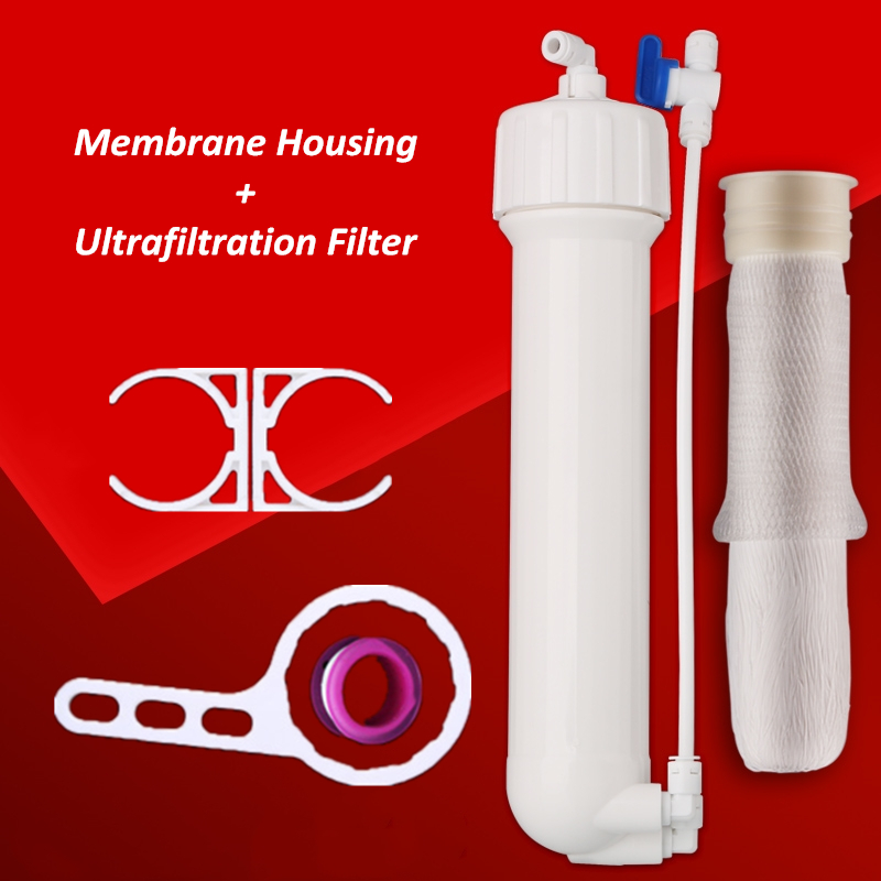 1812 2012 Reverse Osmosis Membrane Ultrafiltration Housing 50/75/100 GPD With Hollow Fiber UF Membrane Filter With Fittings hmtec ro reverse osmosis membrane filter 1812 50g 75 2012 100 125 150