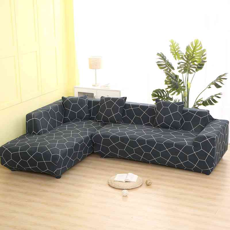 Geometric Pattern L Shaped Sofa Covers Non Slip Elasticity