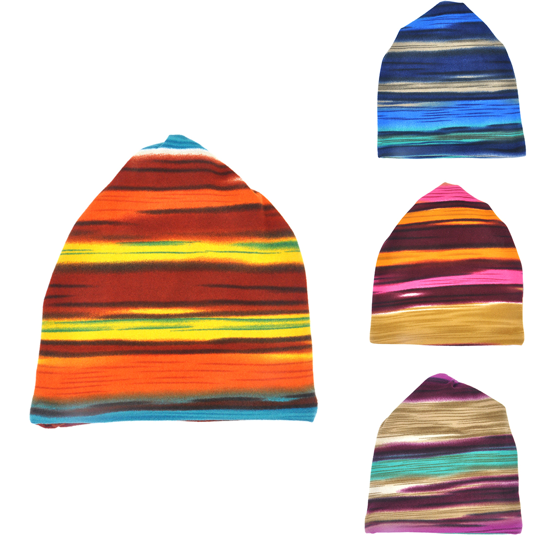 6beffc198181c Women s Hot Fashion Turban Autumn Winter Warm Headdress Caps Hat Colorful  Striped Scarf Work Out Beanies