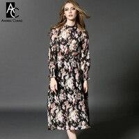 2016 spring summer designer women dresses black mid calf white pink flower print wrinkled fashion bohemian brand long dress gown