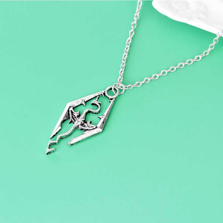 ZRM модное винтажное Очаровательное ожерелье с подвесками в форме динозавров Skyrim Elder Scrolls Dragon кулоны винтажное ювелирное ожерелье для мужчин и женщин