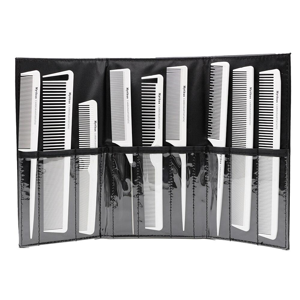 9pcs Carbon Antistatic Hairdresser Comb Pakaian tahan panas tahan karat Pemotongan Keras Karbon Pro Alat Pemotongan Rambut Alat Pengayakan