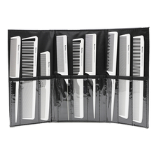9pcs White Carbon Antistatic Hairdresser Comb Heat Resistant Hairdressing Carbon Cutting Comb Pro Hair Cutting Kit Styling Tool