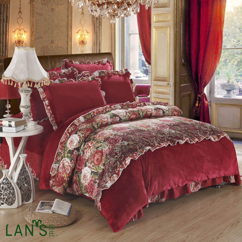 soft velvet reactive printed 4pcs bedding sets queen king size winter warm bedclothes duvet cover bed