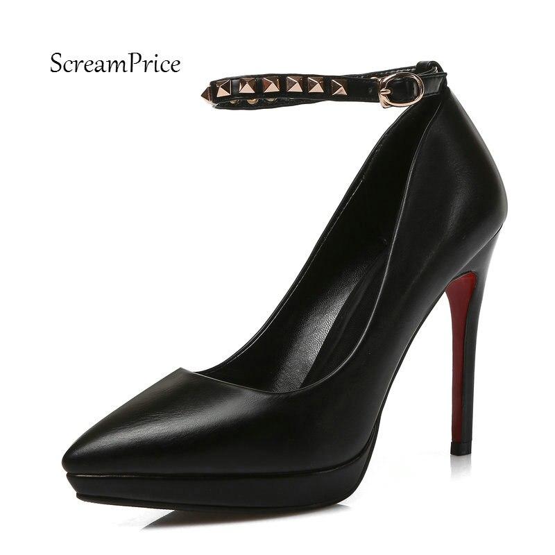 Mode Parti Femmes Haut Chaussures Blanc Mince Plate Pompes Rivet Noir Robe Avec blanc rouge Noir De Boucle Sangle Sexy Talon Rouge forme ww6PE