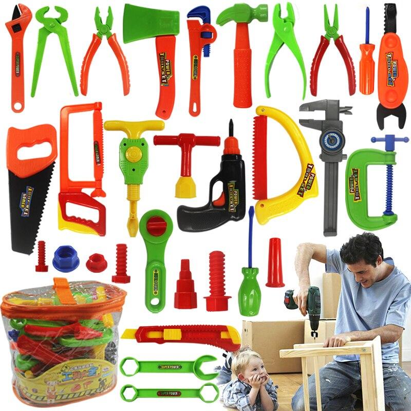 34 pçs/set Ferramentas de Reparo Ferramenta de Jardim Brinquedos Para As Crianças Pretend Play Plástico Ambiental Engenharia de Manutenção Ferramenta Brinquedos Presentes