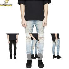 NEWFashion Mens Ripped Slimfit Skinny Jeans Stretch Denim Distress Frayed Pencil Pants Jeans Boys Стильные джинсы с длинными тощими джинсами