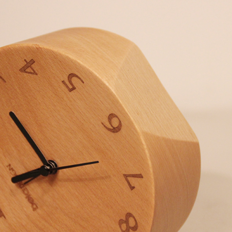 ... Mute Movement Quartz Alarm Clock, Table Clock, Germany Beech Wood  100%,wooden ...