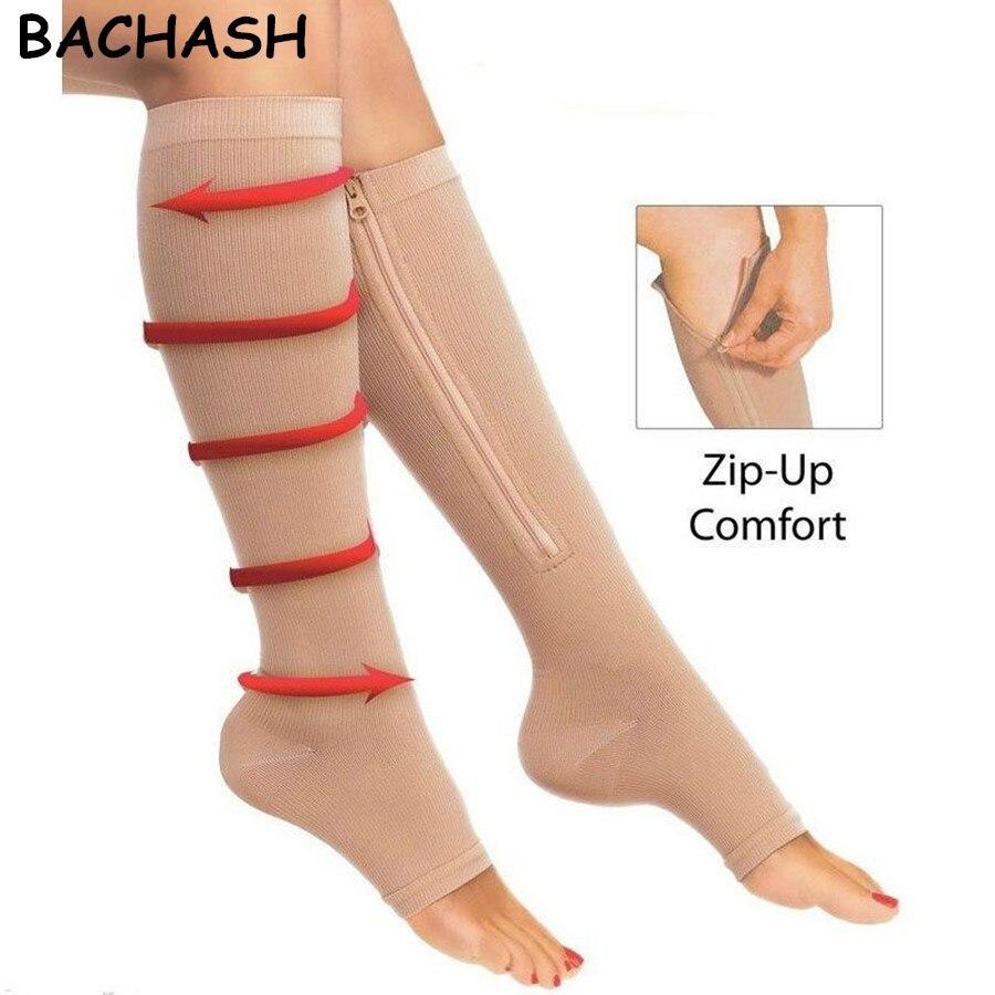 BACHASH 2 Pair Women's Slim Sleeping Beauty Leg Shaper Compression Stocking Zipper Leg Support Knee Stockings Beige Black S-L