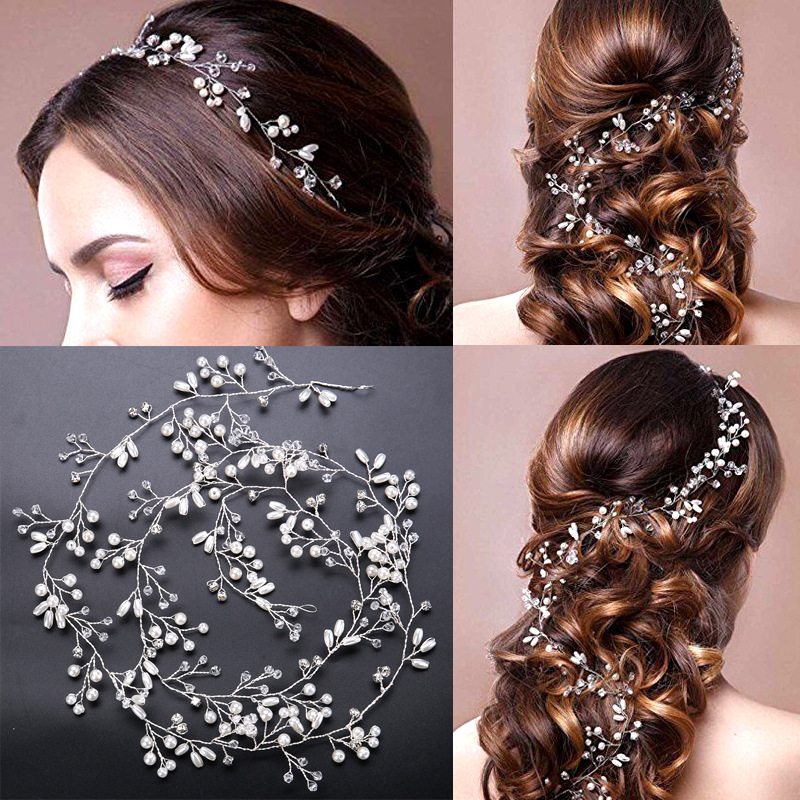 New Arrival Luxury handmade pearl princess long headbands Fashion Silver crystal tiara for bride wedding hair