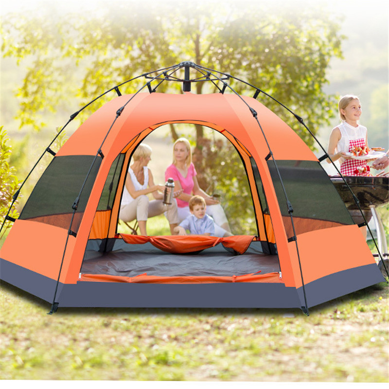 Camping Tents For Family Double Layer Double Doors Outdoor Tents Waterproof Outdoor Tourism Tents