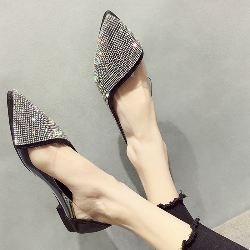 Big Size Women Flat Ballet Shoes Bling Crystal Pointed Toe Flats Shoes Elegant Comfortable Lady Shiny Shoes Size 36-41