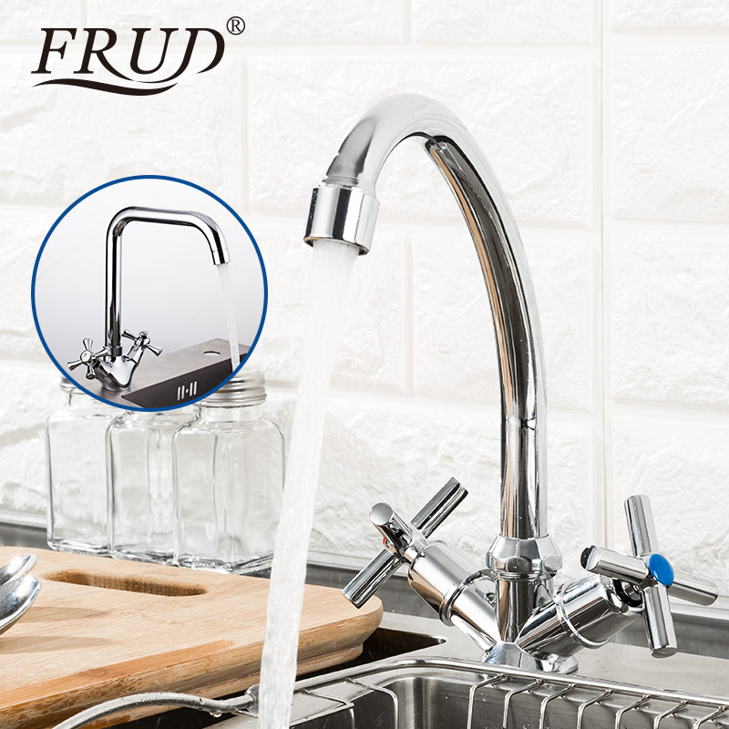 FRUD Classic Kitchen Faucet Mixer Water Tap Dual Handle Kitchen Sink Faucet Cold And Hot Water Tap Deck Mounted Faucet Kitchen
