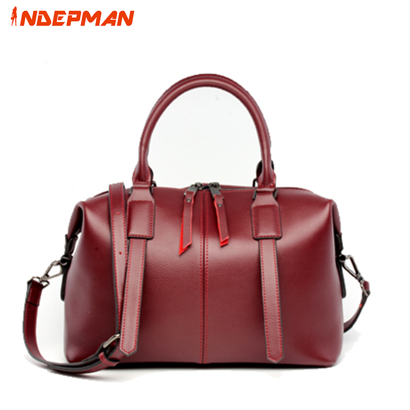 ФОТО Bao Bao Fashion Genuine Leather Women Boston Bag Ladies Top Handles Messenger Bag Retro Purse OL Wine Red