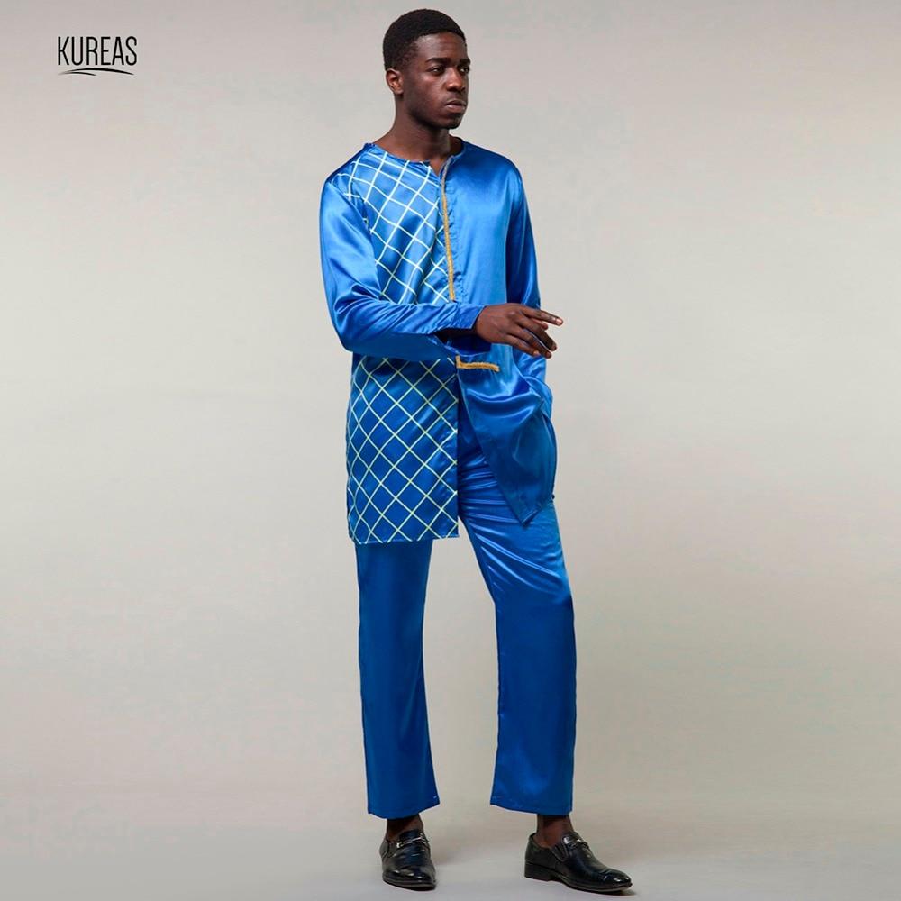 Kureas Dashiki ensemble hommes vêtements africains Plaid 2 pièces chemises à manches longues ensemble costume ethnique traditionnel afrique vêtements hauts