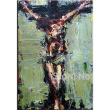 hand painted Jesus oil painting Christ good Friday canvas wall art abstract  religion picture on the cross