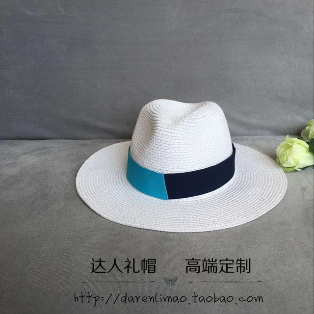 Chun xia edición de han negro azul del color del doble de la cinta de costura casquillo del jazz de color puro y sunbonnet casquillo de la playa on vacation