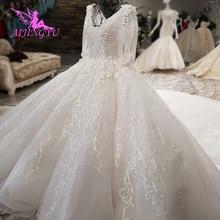 AIJINGYU Dantel düğün elbisesi Beyaz Top Çin Vintage Gelin Vintage Kollu Ucuz Islam Elbise Gayri gelinlikler