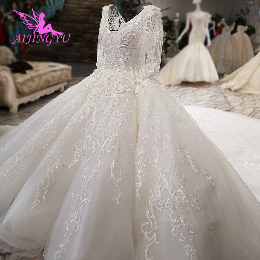 AIJINGYU Lace Wedding Dress White Ball China Vintage Bride Vintage With Sleeves Cheap Islamic Gown Informal Bridal GownsWedding Dresses   -