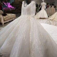 AIJINGYU الدانتيل فستان الزفاف الكرة البيضاء الصين خمر العروس خمر مع الأكمام رخيصة ثوب الإسلامية زي العرائس غير الرسمية